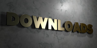 Downloads - Gold sign mounted on glossy marble wall  - 3D rendered royalty free stock illustration. This image can be used for an online website banner ad or a Stock Photography