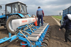 Downloads tractor sowing fertilizers_4 Stock Image