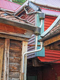 Downpipe Downspout Huis stock afbeelding