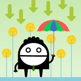 Downpour. A business man holding an umbrella while downward arrows are falling Royalty Free Stock Image