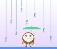 Downpour of failures. A cartoon man holding an umbrella under falling fail words Stock Image