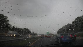 Downpour on US highway stock footage