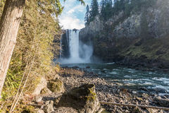 Downriver Snoqualmie Falls. A view of Snoqualmie Falls from downriver Royalty Free Stock Photography