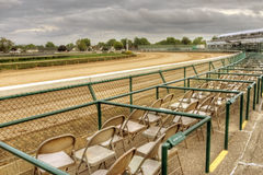 Downs 1. Turn 1 of the 135th Derby in 2009. Course photos evening prior to the race. High priced seats line the track Stock Photo