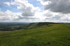 Downs countryside england. The South Downs Way in the English countryside near Lewes, Sussex Stock Photography