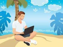 Downshifting begrepp Färgrik illustration för plan design Freelanceren ändrar livsstil för att vara lycklig vektor illustrationer