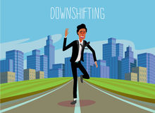Downshifting. Flat design colorful illustration of downshifting concept. Freelancer changes lifestyle. No office work, just freedom. Downshifting cartoon Royalty Free Stock Photography