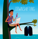 Downshifting. Flat design colorful illustration of downshifting concept. Freelancer changes lifestyle. No office work, just freedom. Downshifting cartoon Royalty Free Stock Images