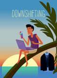 Downshifting. Flat design colorful illustration of downshifting concept. Freelancer changes lifestyle. No office work, just freedom. Downshifting cartoon Stock Photography