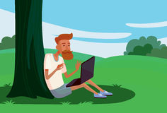 Downshifting. Flat design colorful illustration of downshifting concept. Freelancer changes lifestyle. No office work, just freedom. Downshifting cartoon Stock Images