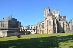 Downside Abbey and School. Downside abbey shown left is in contrast to the latter addition library shown right. Photo taken April 2015 Royalty Free Stock Photo