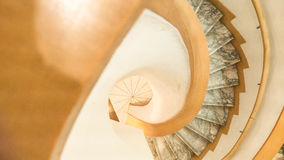 Downside view of a spiral staircase Royalty Free Stock Photos