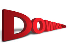 Downsizing. 3D red downsizing text complete with shadow and lightling effects Royalty Free Stock Images