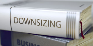 'downsizing' - Boektitel 3d Stock Afbeelding