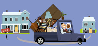 Downsizing seniors. Senior couple moving their belongings from a big family house into a smaller home, EPS 8 vector illustration Stock Photo