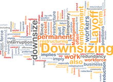 Downsizing word cloud. Word cloud concept illustration of downsizing restructuring Royalty Free Stock Photos