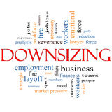 Downsizing Word Cloud Concept Stock Photo