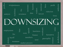 Downsizing Word Cloud Concept on a Blackboard Stock Image