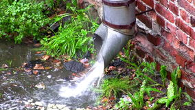 Downspout on the old wall stock footage