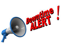 Downtime alert. Text coming out of a megaphone over white background. Concept of server or service downtime Royalty Free Stock Photo