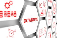DOWNTIME concept. Cell blurred background 3d illustration Stock Image