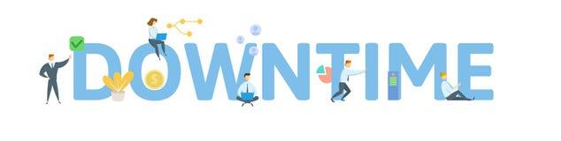 downtime Concepto con la gente, las letras y los iconos Ejemplo plano del vector Aislado en el fondo blanco libre illustration