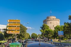 Downton Thessaloniki, White tower and sea royalty free stock images