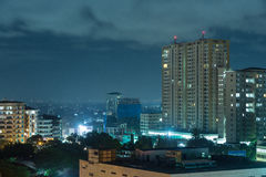Downtowm Dar Es Salaam at Night. View of the downtown area of the city of Dar Es Salaam, Tanzania, at night Royalty Free Stock Image