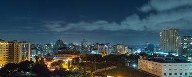 Downtowm Dar Es Salaam at Night. View of the downtown area of the city of Dar Es Salaam, Tanzania, at night Royalty Free Stock Photo