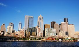 Downtown. View of Seattle downtown skyline on a sunny day Royalty Free Stock Photos