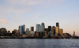 Downtown. View of Seattle downtown at sun set Stock Image