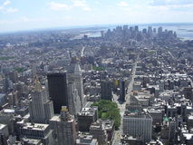 Downtown. A view of lower Manhatten from the Empire State Building. Liberty, Brooklyn and Staten also visible stock image