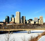 Downtown. The downtown skyline of edmonton, alberta, canada, in winter Stock Photos