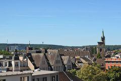 Downtown Aachen with old roofs. Stock Images