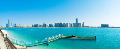 Downtown Abu Dhabi. A panorama photo of downtown Abu Dhabi, UAE, along the Corniche Road stock photos