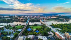 Downtown Aerial of Chattanooga, Tennessee, USA Skyline royalty free stock images