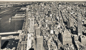 Downtown aerial view, Manhattan - NYC Stock Image