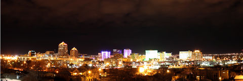 Downtown Albuquerque at Night Panorama Royalty Free Stock Photography