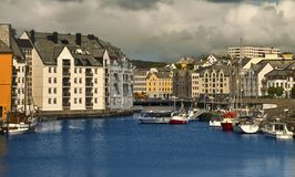 Downtown of Alesund Royalty Free Stock Photography