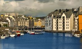Downtown of Alesund Stock Photography