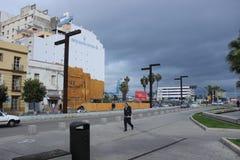 Downtown Algeciras, Spain, old buildings, street Stock Photography
