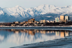 Anchorage City. Downtown Anchorage Alaska and its reflection into Cook Inlet Royalty Free Stock Photography