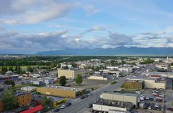 The downtown Anchorage skyline Royalty Free Stock Photography