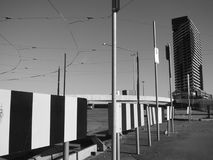 Downtown area. A downtown area in black and white with wires overhead royalty free stock photos