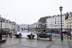 Downtown Area of Alesund - Cityscape - Norway Stock Photo