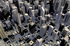 Downtown area of city in 3D Royalty Free Stock Image