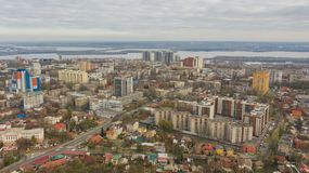 Downtown area of Dnipro city. Panoramic cityscape with skyline. Bird`s eye view on downtown area of Dnipro city. Panoramic cityscape with skyline from quadcopter stock photography