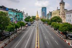downtown area of Yangon, Sule Pagoda Road, Myanmar, may-2017 stock image
