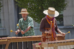 Downtown Asheville Marimba Players Royalty Free Stock Photography