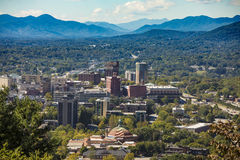 Downtown Asheville, North Carolina and Blue Ridge Mountains Stock Photography